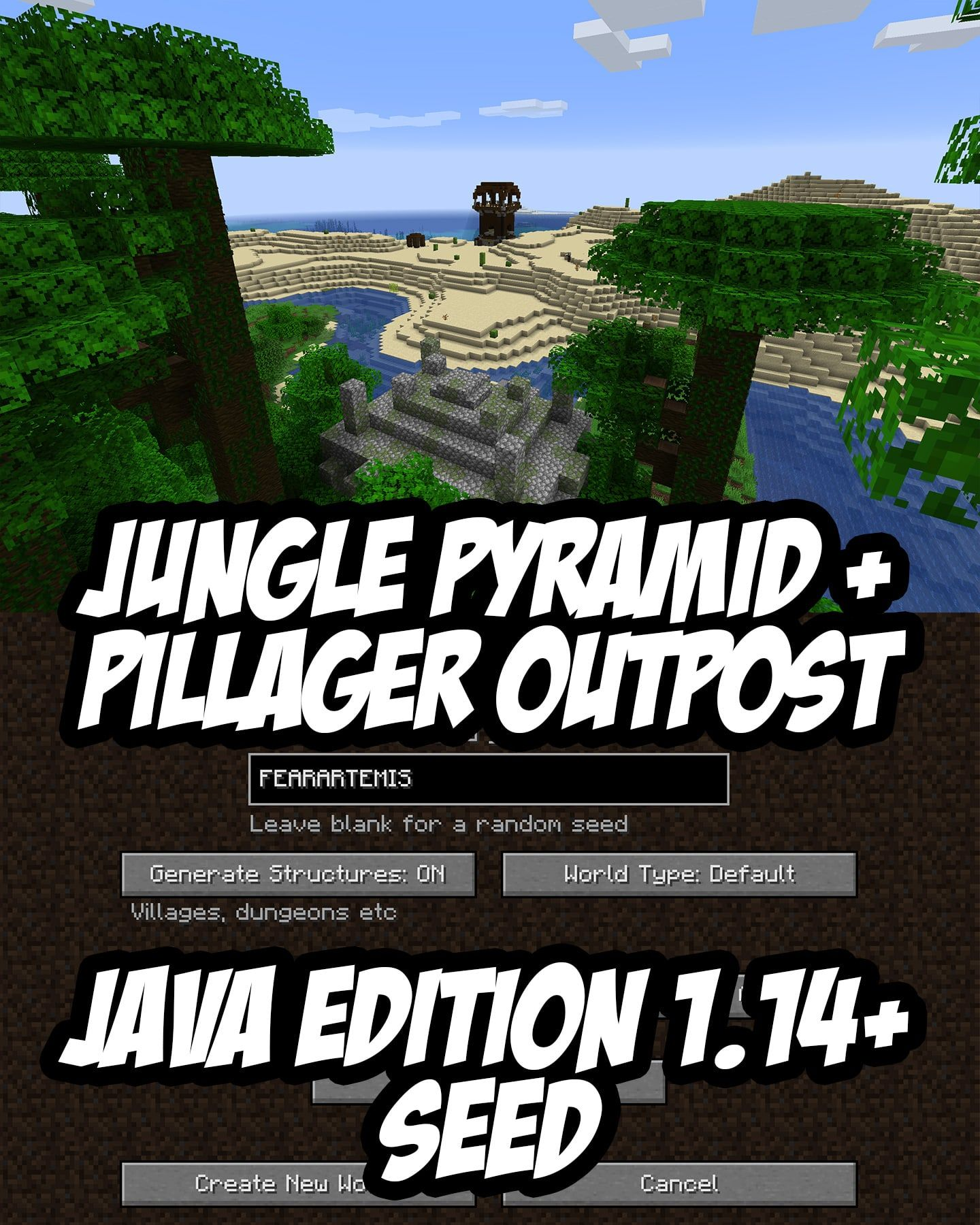 Unreal Spawn Beside A Jungle Temple In View Of A Pillager Outpost Minecraft Java Edition 1 14 Seed Fear Minecraft Blueprints Minecraft Cheats Minecraft Seed