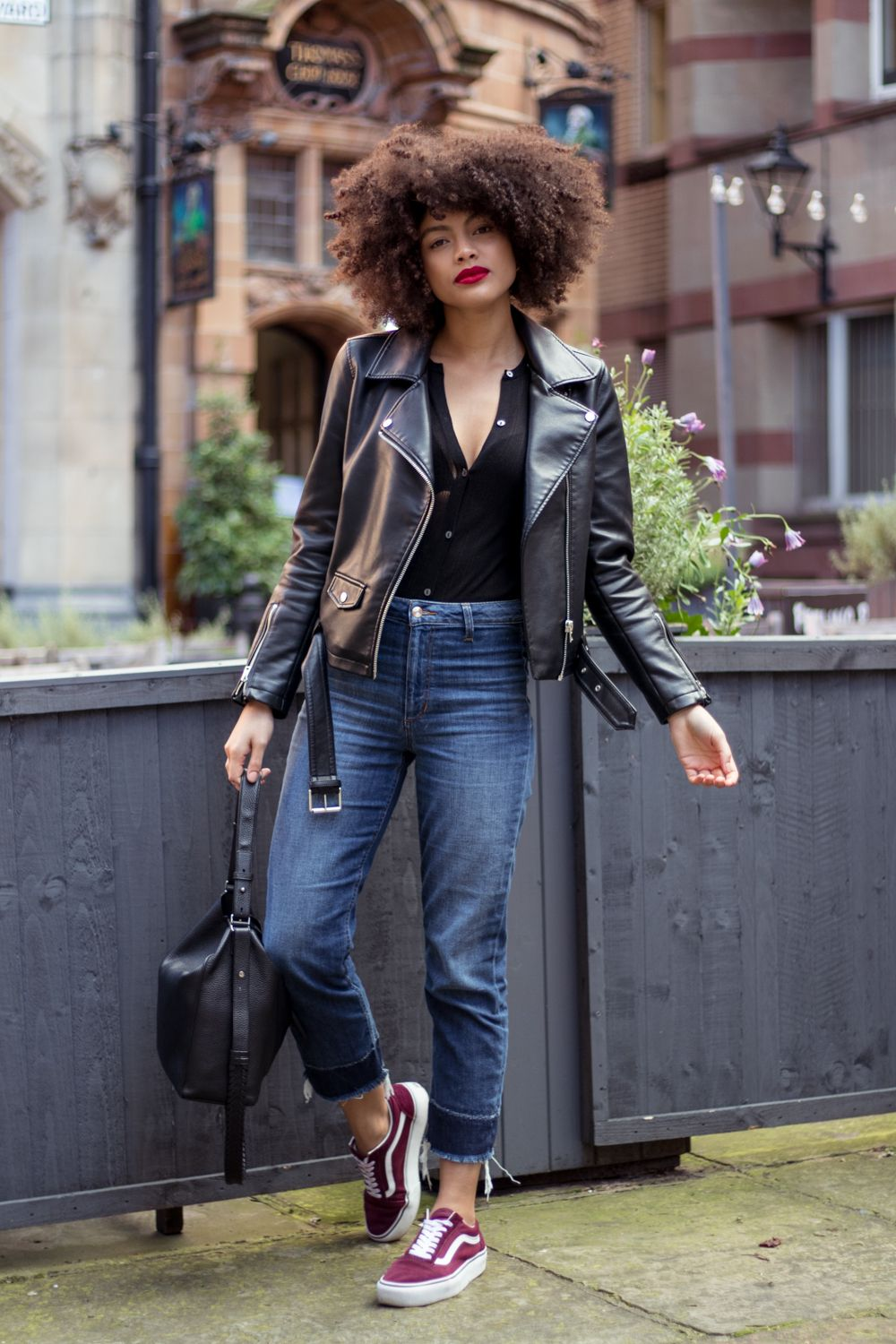 fashion outfits, Burgundy sneakers outfit