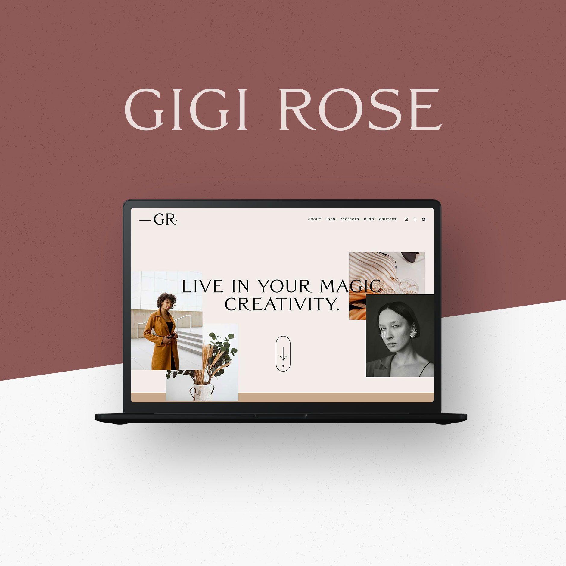 Gigi Rose Squarespace 7 1 Template Kit Big Cat Creative Squarespace Templates Squarespace Templates Squarespace Diy Web Design