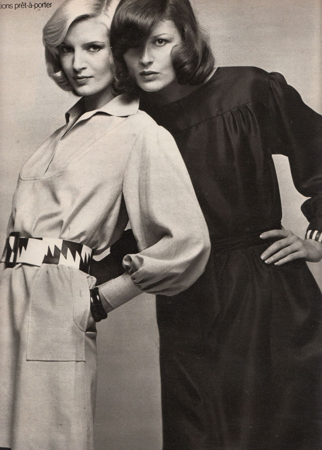 Left: Karl Lagerfeld for Chloe, Right: Nina Ricci, Marie Claire - March 1972, Photographed by Marc Hispard