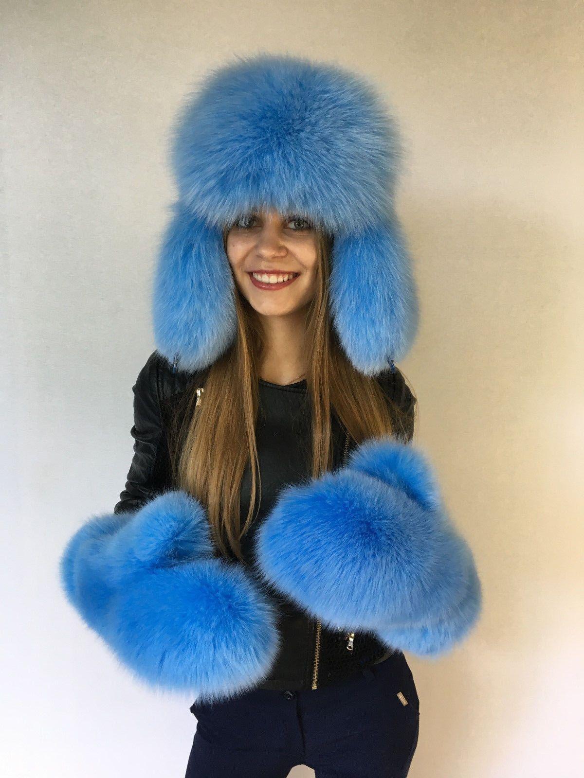 495b0c046a9aa Details about Fox Fur Hat and Mittens Set Full Fur Items Saga Arctic ...