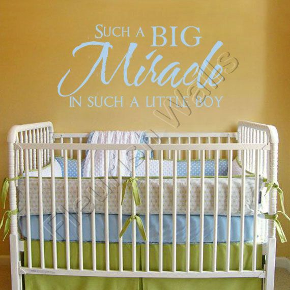 Baby Nursery Quote Lettering Such a Big Miracle in Such a Little Boy ...
