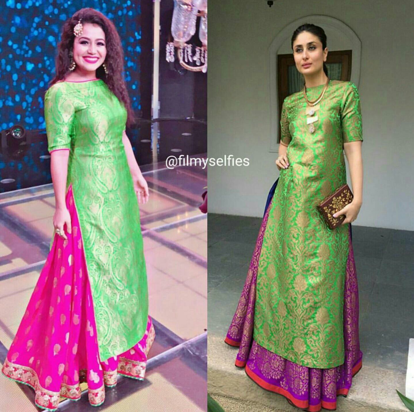78fe7cef259ec Discover ideas about Silk Kurti Designs. sharaddha green and pink Jacquard  karina indo western suit