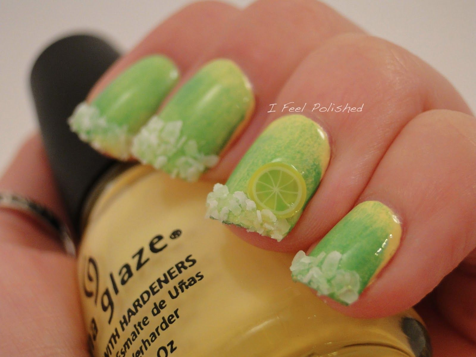 Margarita Nails - The lemon or lime is fimo clay. The salt is ...