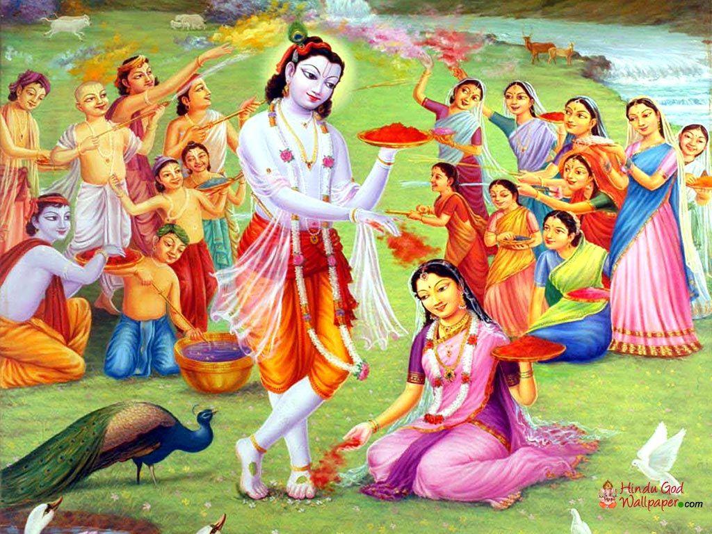 Happy holi radha krishna images -  Holi Lord Krishna Playing Holi With Radha 3