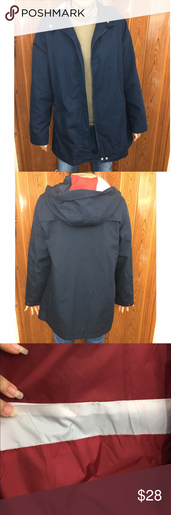 Vintage Izzi Rain Coat American Flag Interior Vintage Izzi Outerwear Rain Coat In Navy Blue Interior Is An American Fla Vintage Jacket Clothes Design Raincoat [ 1740 x 580 Pixel ]