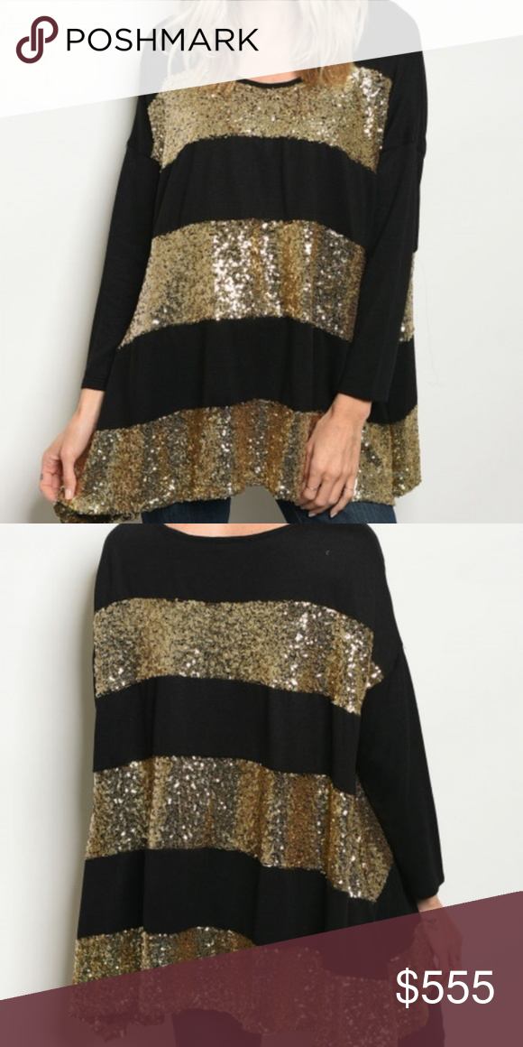 0b404684bb3 HOLIDAY PARTY TOP BLACK TUNIC TOP, GOLD SEQUIN STRIPES LINED TUNIC FIT 95%  RAYON 5% SPANDEX Tops Tunics