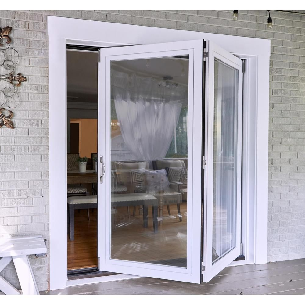 Jeld Wen 72 In X 80 In Primed Fiberglass Left Hand Full Lite F 2500 2 Panel Folding Patio Door Kit Thdjw235200001 The Home Depot In 2020 Folding Patio Doors Patio Doors Exterior Patio Doors