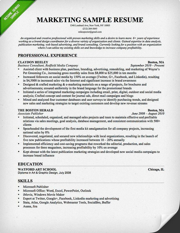 Marketing Resume Examples Pinterest Sample resume, Resume