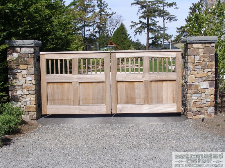 Double Swinging Wood Gate With Stone Pillars Pillars Gate Vehicle Automated Electric Security Custom Backyard Gates Wood Gate Farm Gates Entrance