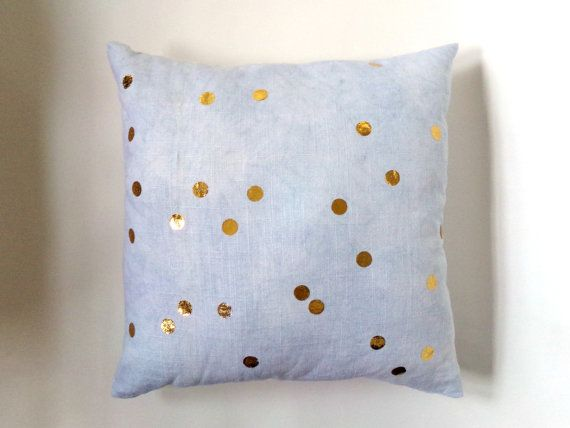 """Gold Confetti Dot Indigo Linen Pillow Cover  This pillow cover is made with a natural white linen that has been hand dyed with natural indigo and appliqued with metallic gold confetti polka dots.  It is made to order and is available in five different sizes:  12"""" x 20"""" (30cm x 51cm) 16"""" x 16"""" (41cm x 41cm) 20"""" x 20"""" (51cm x 51cm) 24 x 24 (61cm x 61cm)  The pillow cover shown is 16"""" x 16"""" (41cm x 41cm)  All pillow covers are printed on both sides and have an invisible zipper closure.  Caring…"""