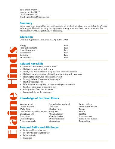 free resume templates for high school students babysitting fast food warehouse tutor - Resume For Fast Food