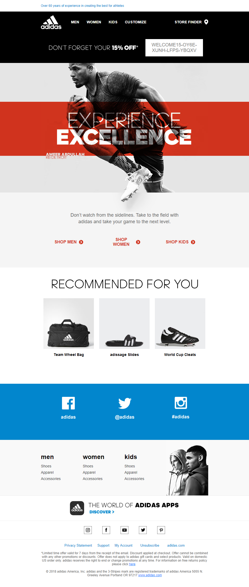 Adidas Email Design Don T Watch From The Sidelines Take To The Field With Adidas And Take Your Game To The Next Le Email Design Email Layout Web Layout Design