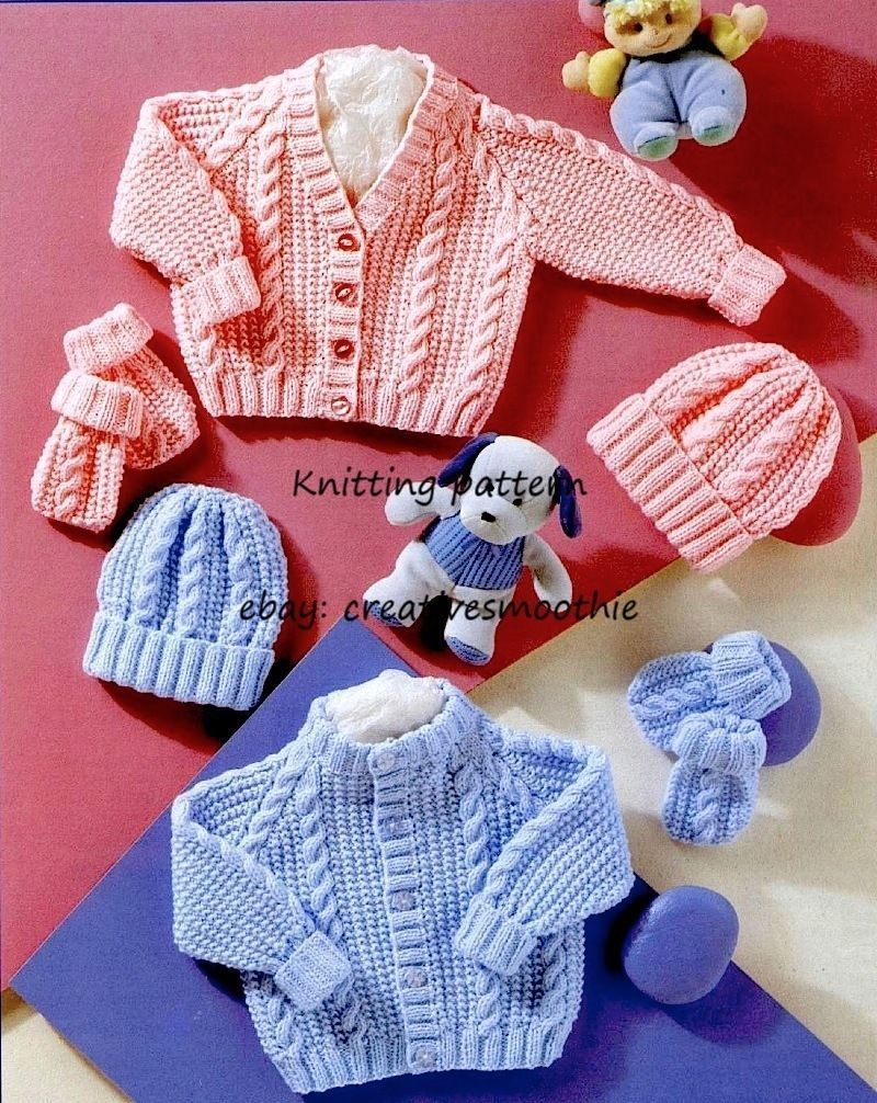 298) DK Knitting Pattern Baby Boy Girl Cable Cardigans, Hats ...