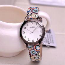 9163c11486c Relogios femininos de marca Kezzi moda feminina relógio de pulso pulseira  de couro genuíno vídeo analógico de quartzo relógio ocasional k1056(China  ...