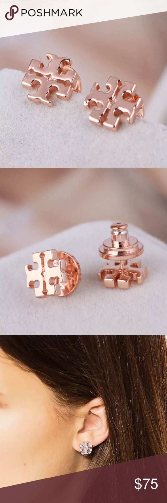 Tory Burch Rose Gold Small T Logo Stud Earrings The Iconic Gleaming Styles