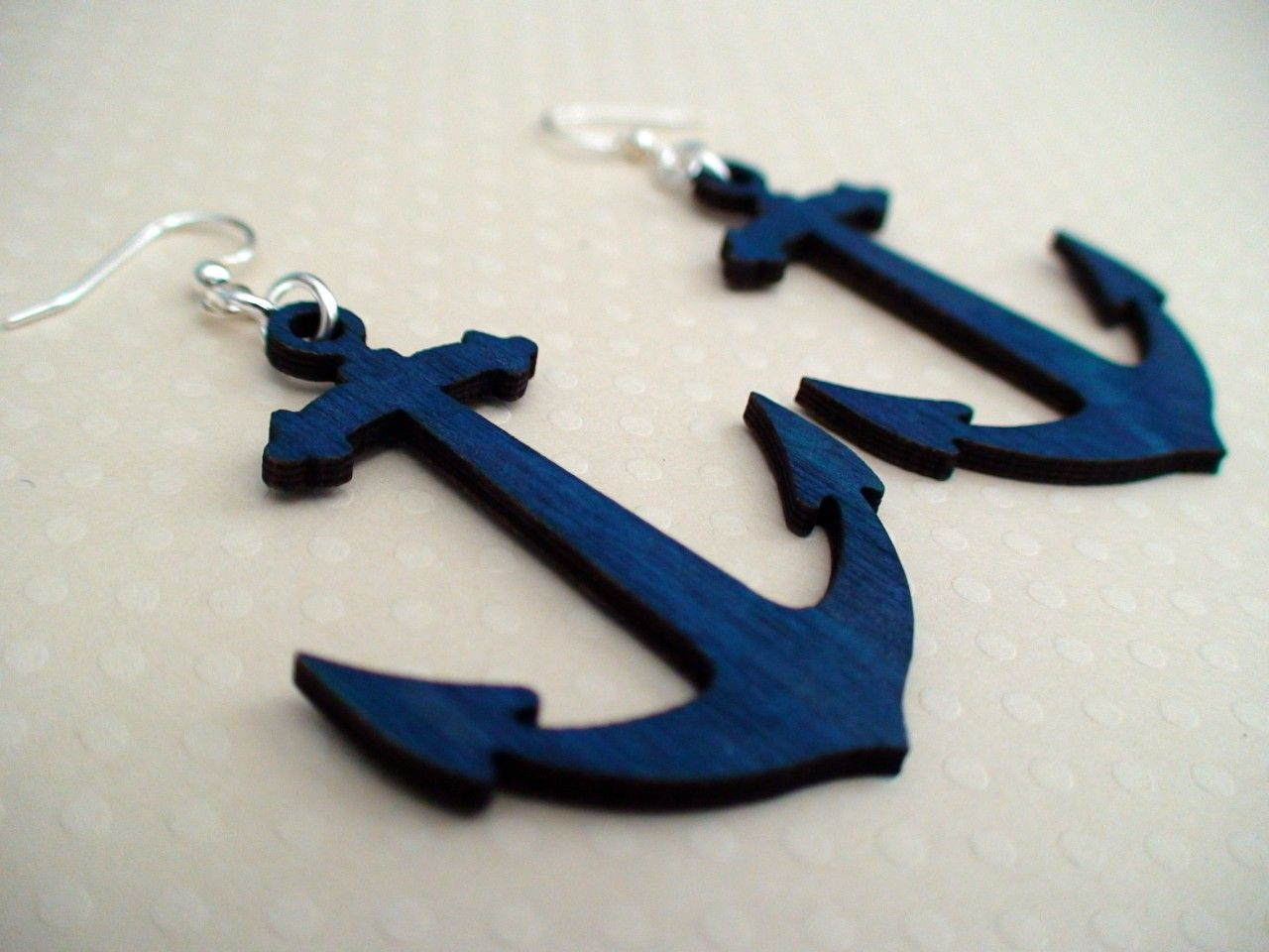 Anchor wood earrings. Made out of recycled wood and non toxic dye in the USA!