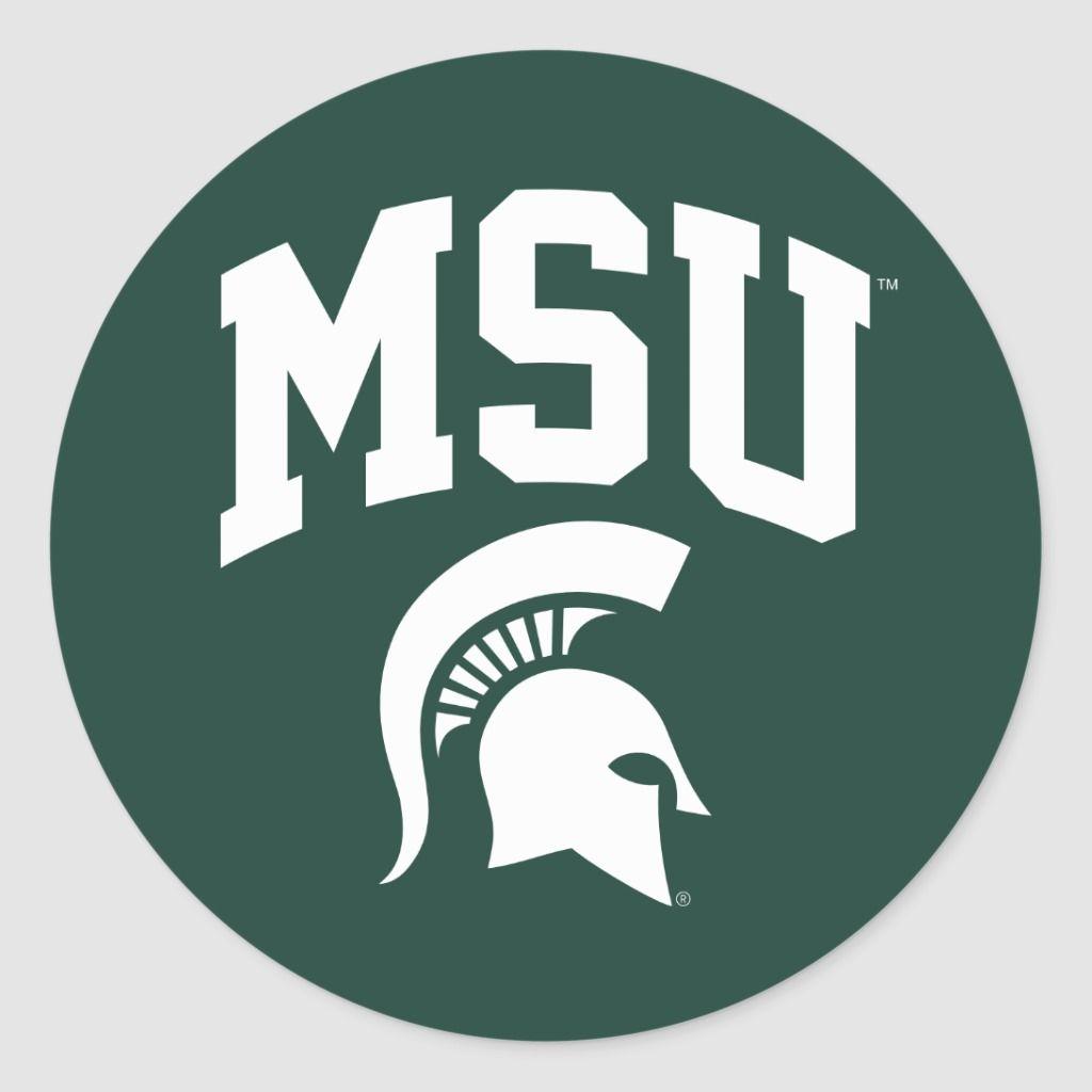 Msu Spartans Classic Round Sticker Zazzle Com Msu Spartans Michigan State Logo Msu