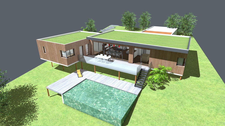 Plan maison architecte maison contemporaine toit terrasse v g talis sur pilotis sur terrain for Plan maison terrasse