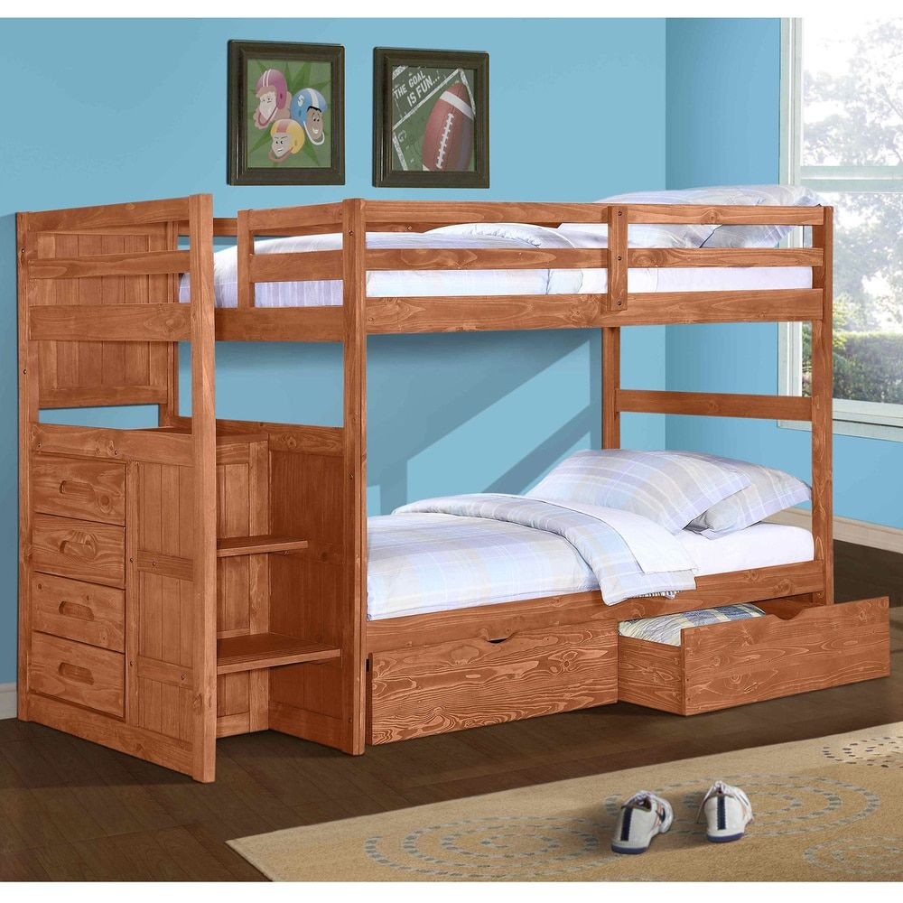 Double loft bed with desk  Donco Kids Ranch Stairway Twin Bunk Bed with Dual Underbed Drawers