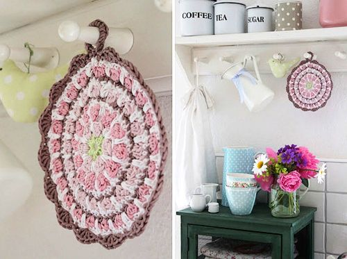 crochet+pot+holders+and+greengate+latte+cup Rosa Rot Shabby Chic Kitchen   Crochet Pot Holders and Greengate Baking Supplies