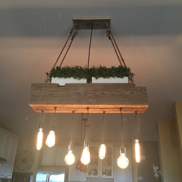 Custom Reclaimed Barn Wood Beam Light Fixtures