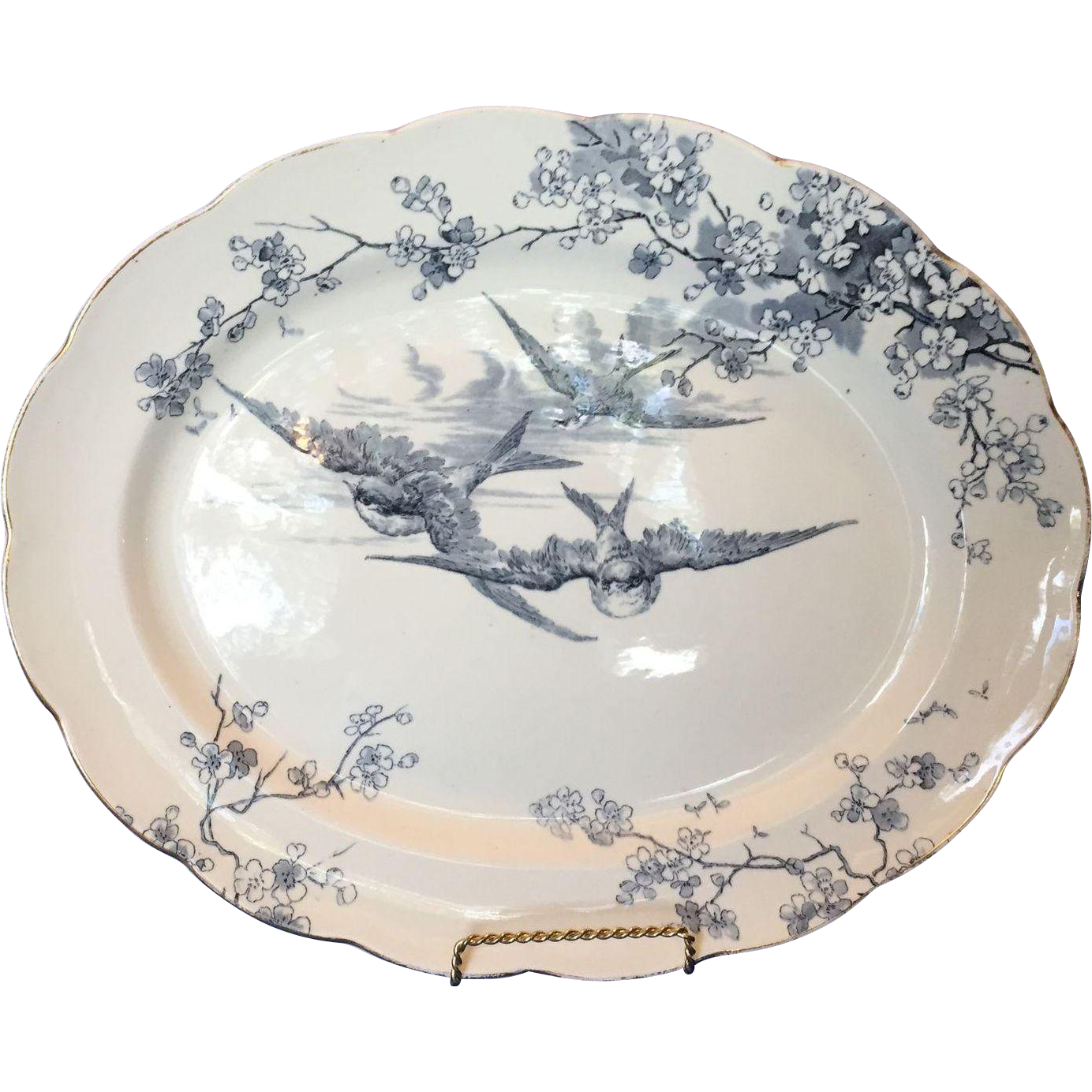 English Powell, Bishop and Stonier, PB&S Large Swallow Platter, Blue and…