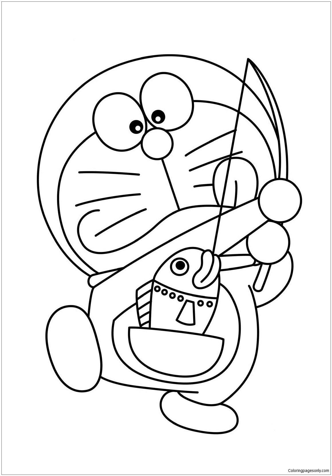 Doraemon Fishing Coloring Page