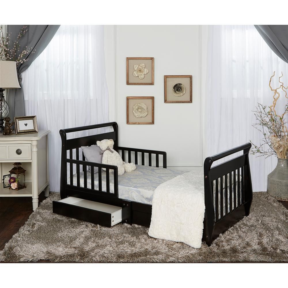 Dream On Me Espresso Toddler Adjustable Sleigh Bed With Storage