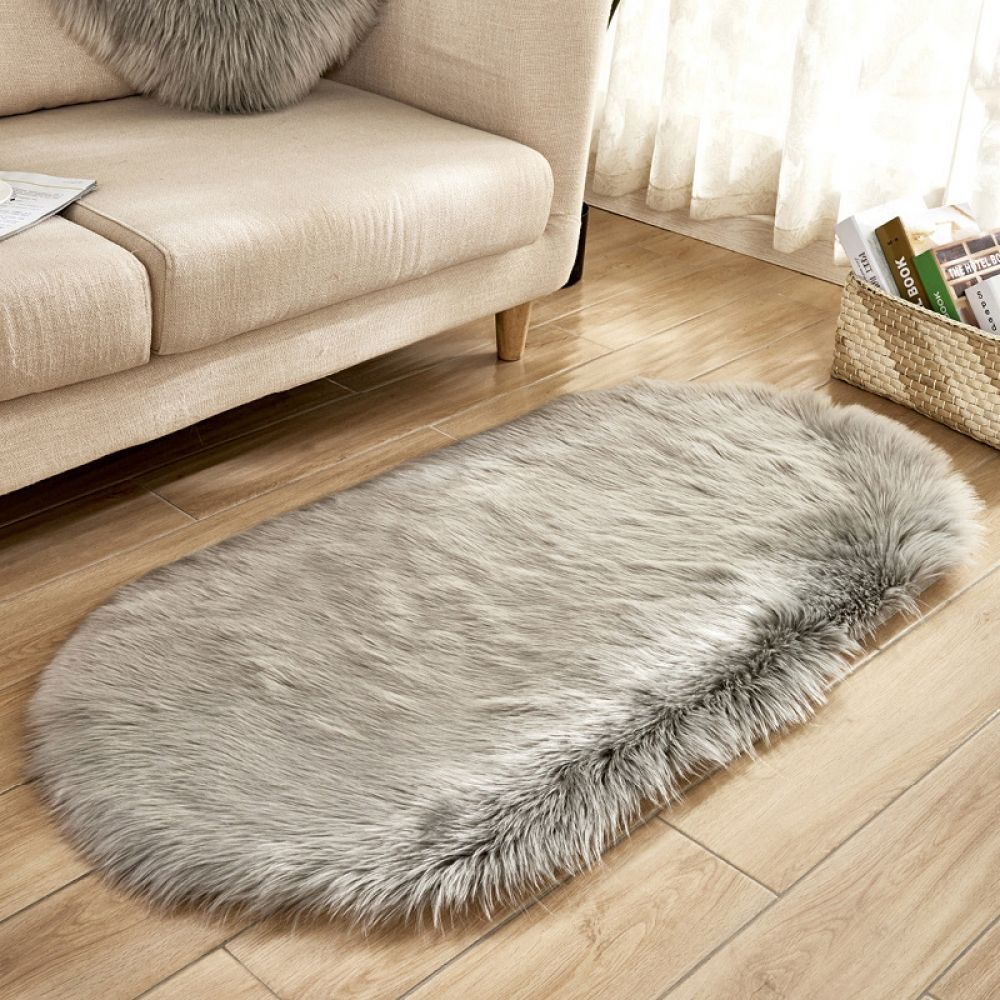 80 180cm Oval Fur Faux Artificial Sheepskin Carpet Washable Seat Pad Fluffy Rugs Hairy Wool Soft In 2020 Fluffy Rug Plush Rug Rugs On Carpet