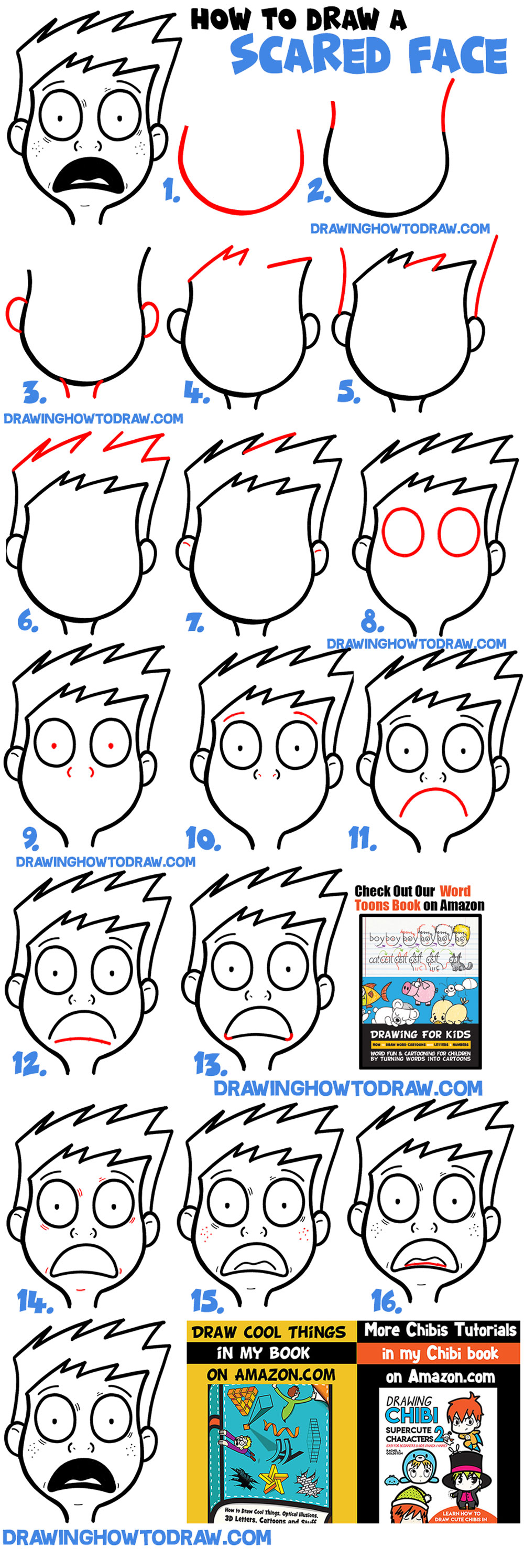 How To Draw Cartoon Facial Expressions Scared Petrified Afraid Terrified Panic How To Draw Step By Step Drawing Tutorials Cartoon Drawings Scared Face Drawing Drawing Expressions