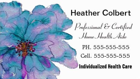 Simple Blue Watercolor Flower Certified Home Health Aide Business