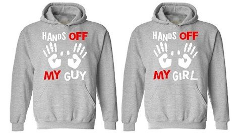 4658d35776 Matching Couple Hands Off My Guy Girl Hoodies -------------------- couple  shirt, couple wear, couple hoodie, matching hoodie, fashion trends, ...