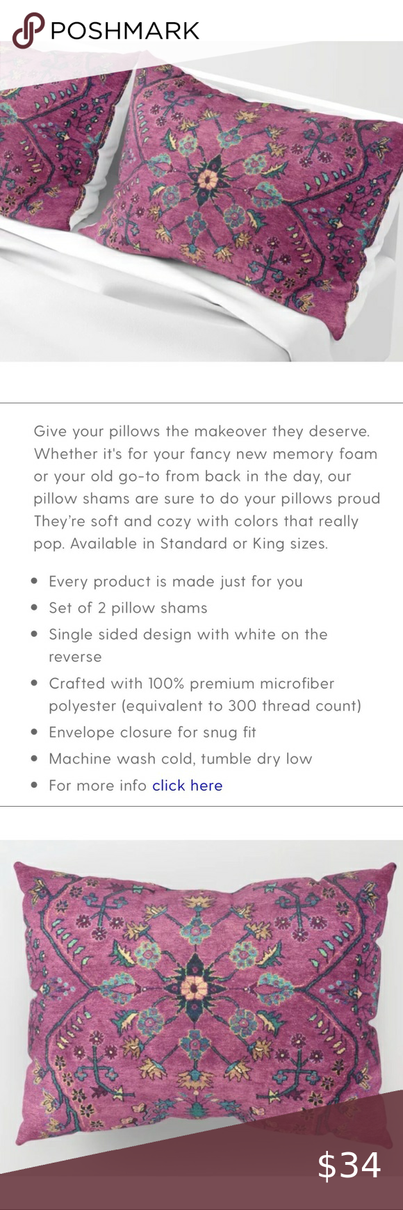 NWOT | Boho pillow shams Adorable boho Persian carpet inspired pillow shams purc...