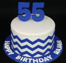 Chevron Birthday Cake Blue Chevron Birthday Cake 55th Birthday