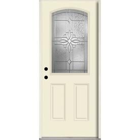 Reliabilt Laurel Half Lite Decorative Glass Right Hand Inswing Bisque Painted Fiberglass Prehung Entry Door With Insul With Images Reliabilt Glass Decor Entry Door Handles