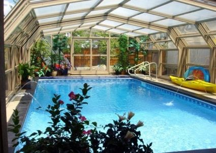 Indoor Pool In A Room With A Retractable Roof To Make It Outdoor