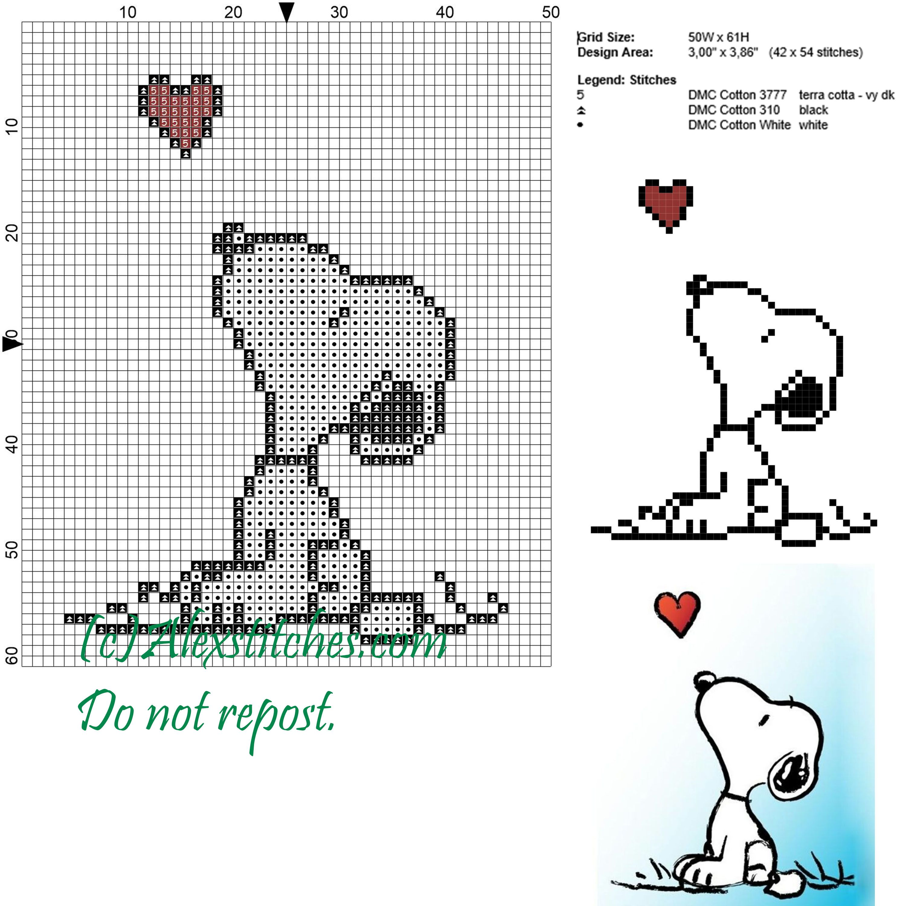 Snoopy and the heart cross stitch pattern 50x62 3 colors ...