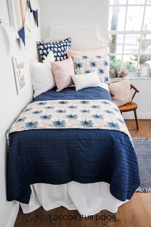 Blush Linen Navy Floral Dorm Bedding Set images
