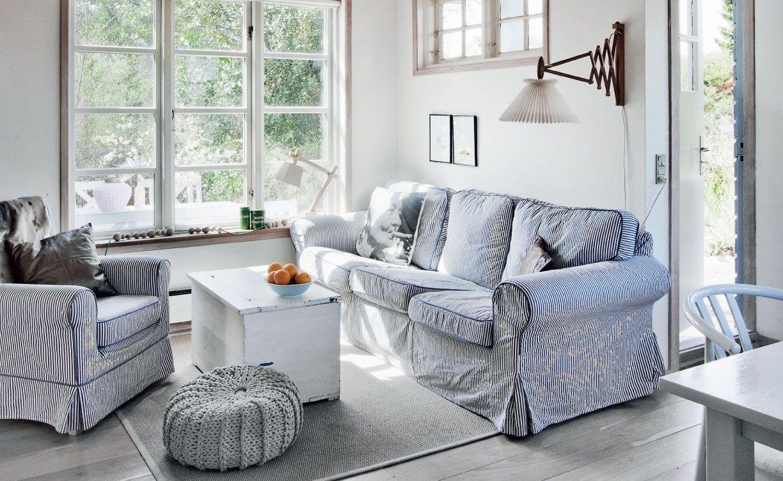 Thin stripe and dark piping. Slipcover idea, thicker back cushion.