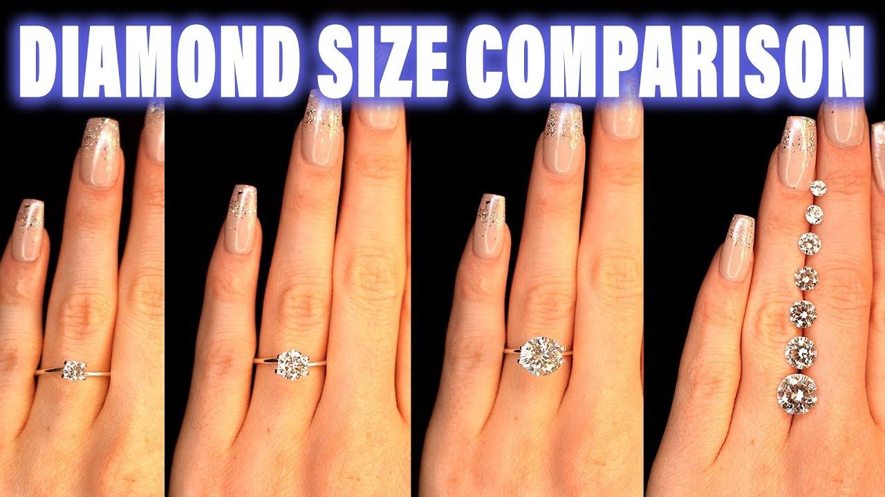 Diamond Size Comparison On Hand Finger Carat 1 2 3 4 0 5 Ct 0 25 0 75 1 Engagement Rings On Finger Diamond Carat Comparison Diamond Carat Size