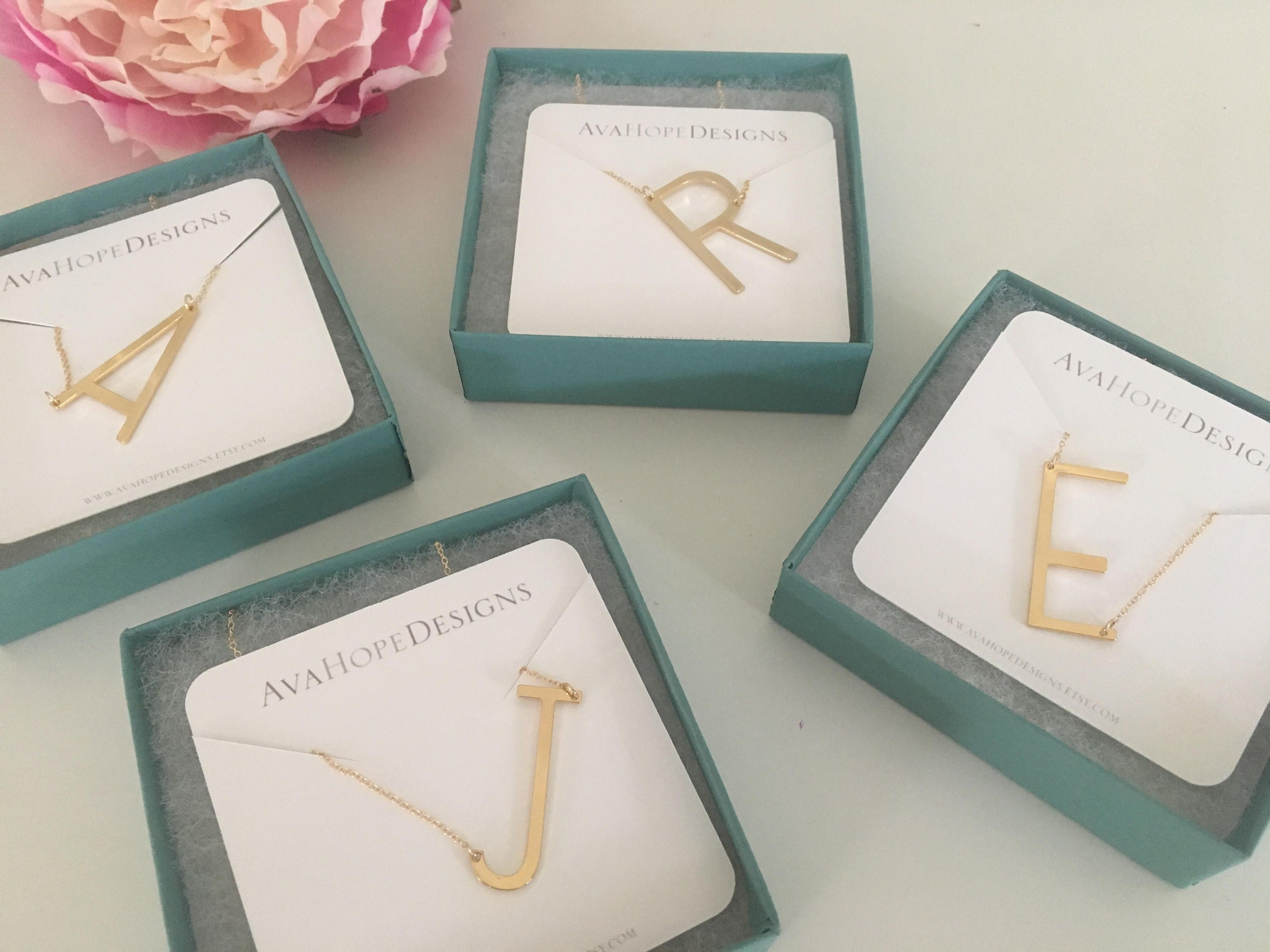 Photo of Large Sideways Initial Necklace, Gold Necklace, Initial Jewelry, Personalized Necklace, Name Jewelry, Ava Hope Design, Best Selling Item