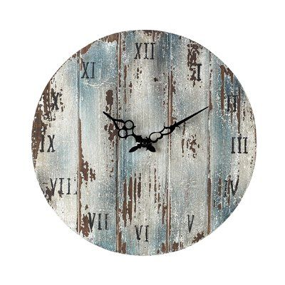 Beachcrest Home Round Wood 16″ Wall Clock