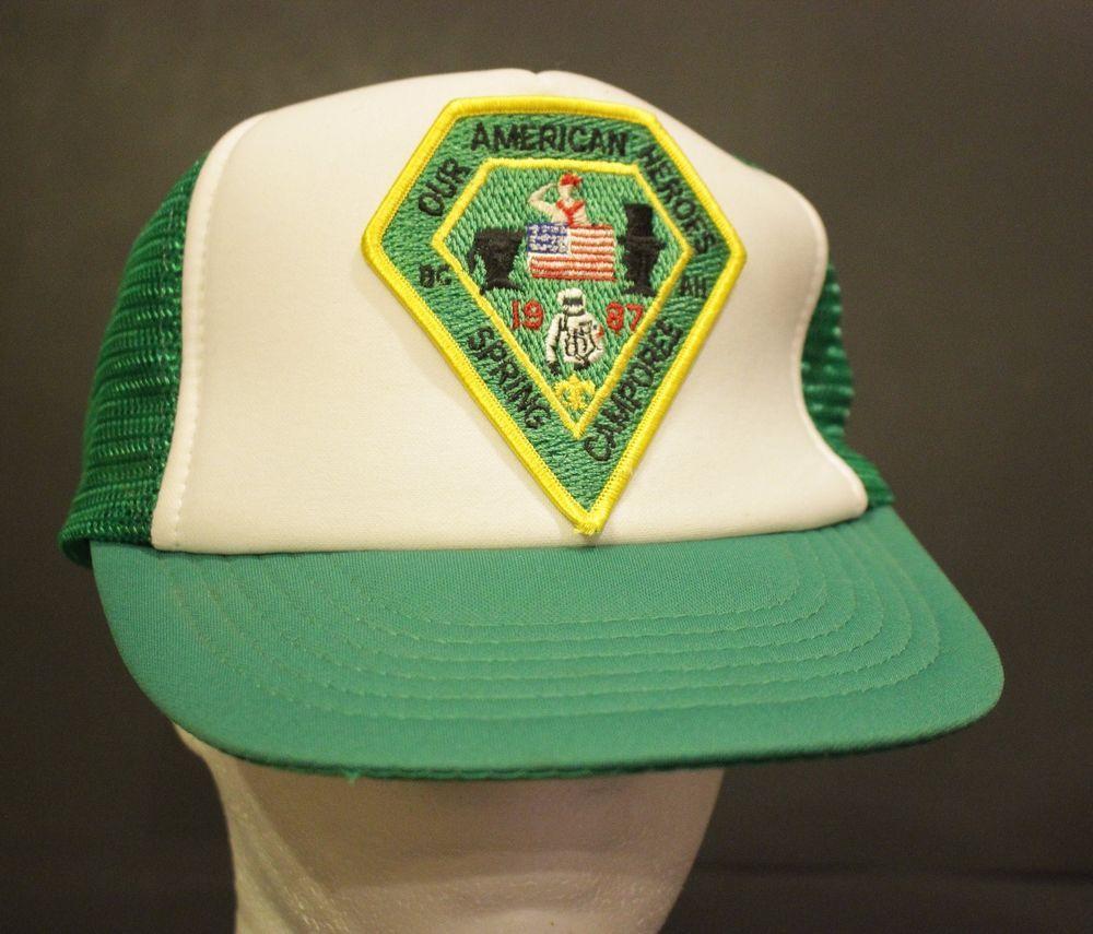 4837837cf65 Vintage American Heroes Trucker Hat Mesh Cap Snapback Green Adjustable  Retro  DA  TruckerCap