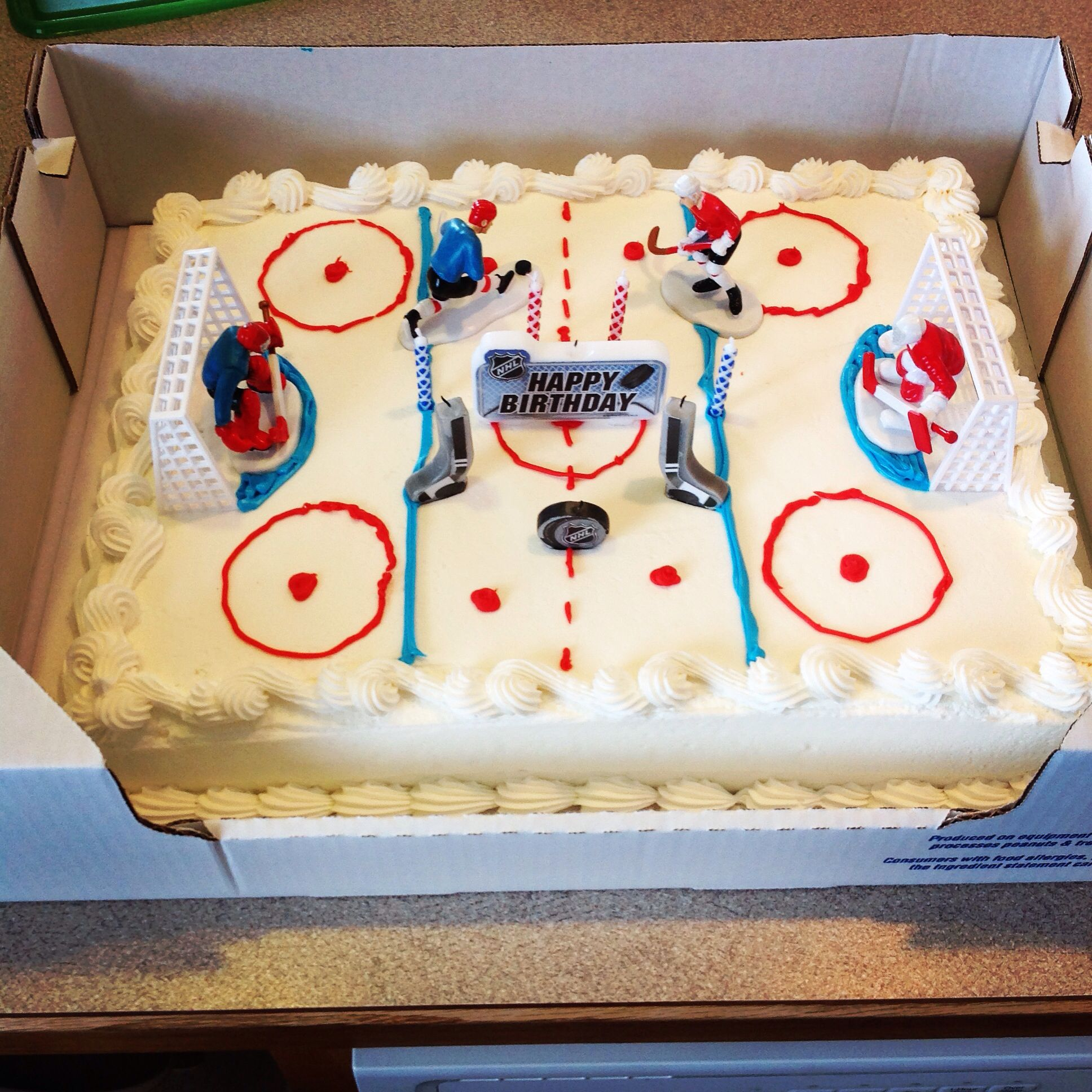 Hockey Rink Birthday Cake Cake From Costco Where I Requested A White Cake With No Design And No Writing Goa Hockey Birthday Cake Hockey Birthday Hockey Cakes
