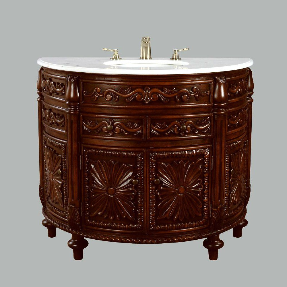 Shop Aa Importing 45364 Ornate Half Round Vanity Cabinet With Sink At The Mine Browse Our Bathroom Vanities All Wi Wooden Console Console Styling Vanity Sink