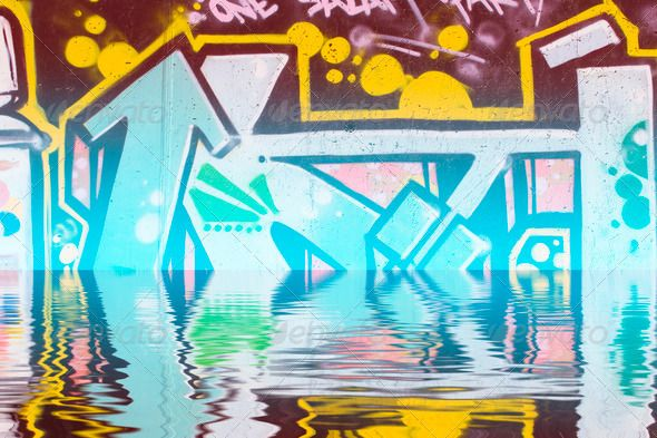 Abstract colorful graffiti reflection in the water ...  abstract, antique, art, artistic, background, black, blue, brush, building, city, clouds, concept, cool, creative, dark, design, dirty, drawing, graffiti, green, grunge, grungy, highway, illustration, ink, isolated, liquid, ocean, office, orange, paint, pink, reflection, retro, road, sea, shape, silhouette, sun, sunshine, tattoo, texture, town, urban, vector, wallpaper, water, way, white, yellow