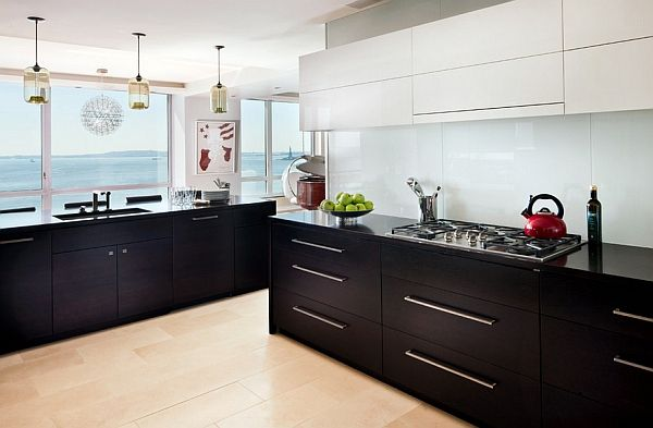 Interior White And Black Kitchen Cabinets kitchen cabinets the 9 most popular colors to pick from beach style in new york with flat panel white backsplash glass