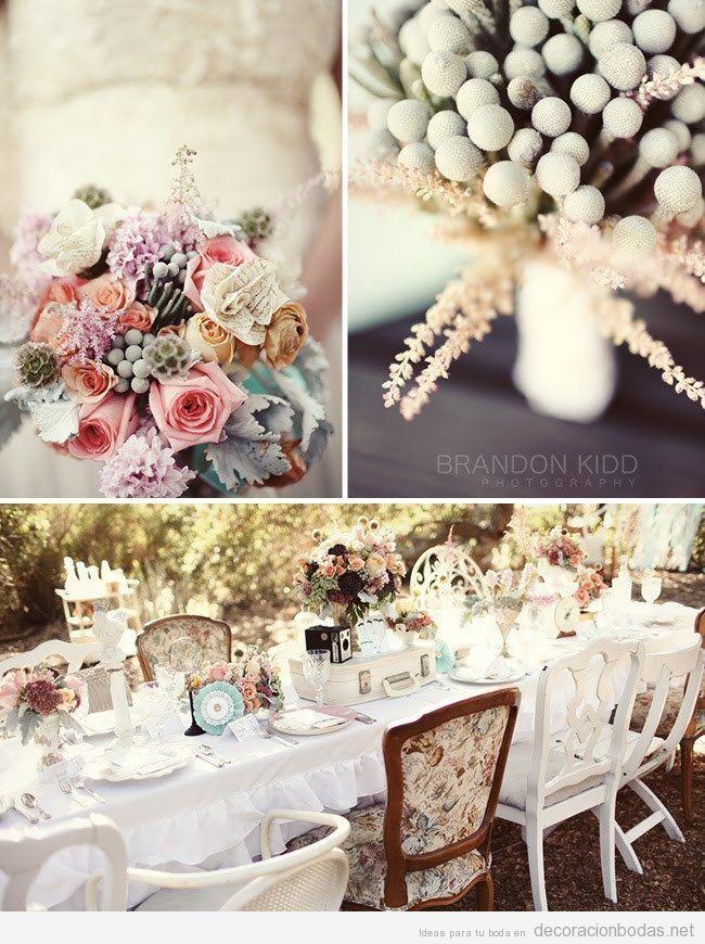 Mesa y flores, decoración de boda vintage en jardín Party \ things