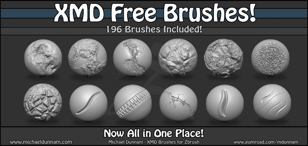 Michael Dunnam on Gumroad | ZBrush FREE IMM Brushes | Zbrush